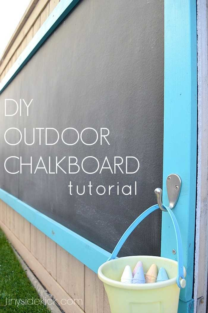 Step-by-step tutorial -with photos- to make your own outdoor chalkboard. #outdooractivities #chalkboard #preschoolactivities #sidewalkchalk
