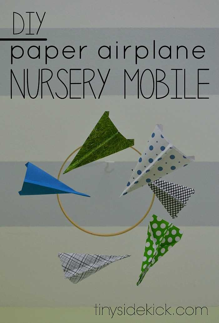 Easy DIY paper airplane nursery mobile perfect for a modern baby nursery