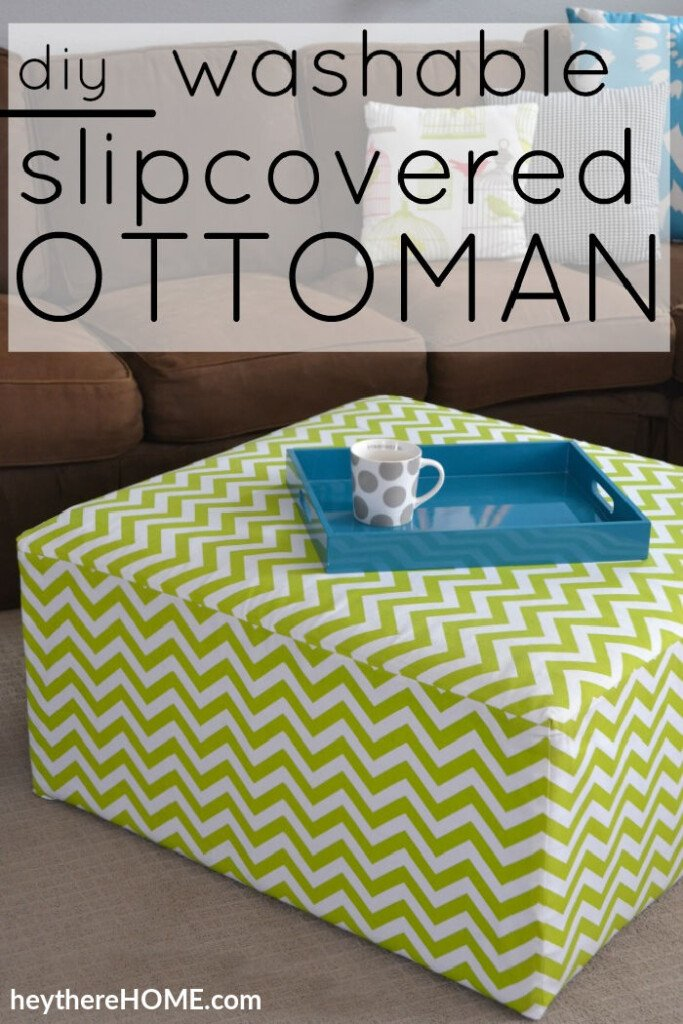 Make a removable slip cover for an ottoman