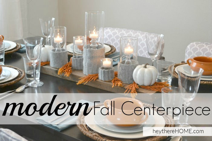 fall centerpiece with sweater candle holder