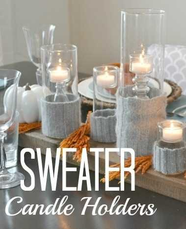 DIY candle sweater holder - such a quick and easy modern fall centerpiece1 via@heytherehome.com #DIYcraft #falldecor #centerpiece #tablescape #falldiy #fallcandles #candleholder