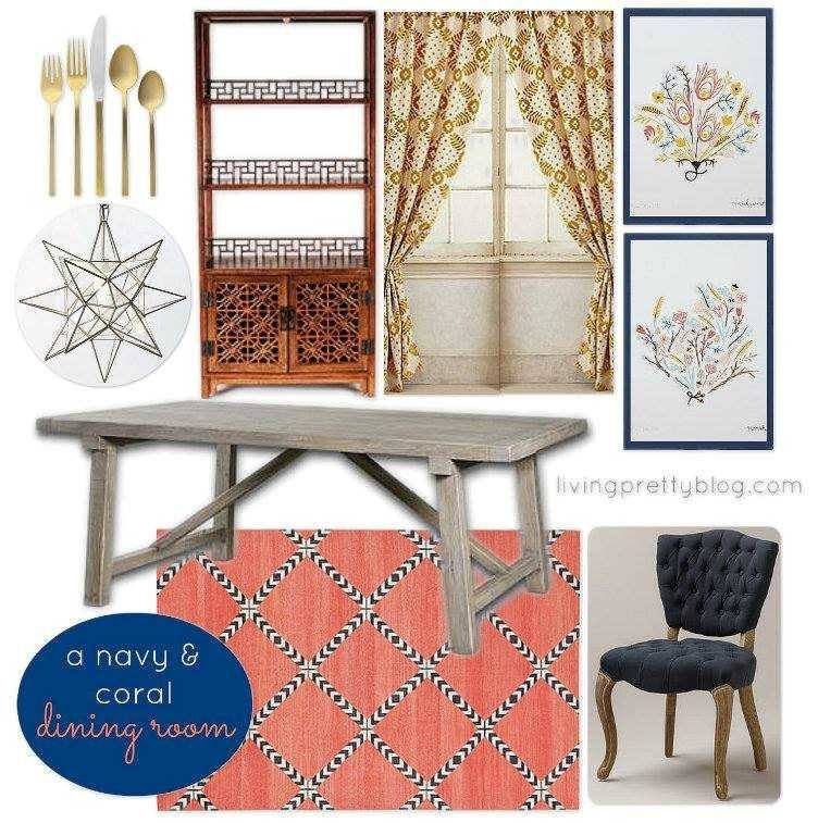 Navy And Coral Dining Room  Livingprettyblog Part 63