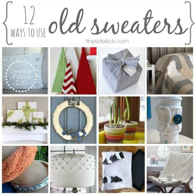 Don\'t throw away your old sweaters! Here are a dozen ways to use them in home decor to add that cozy texture to your space. #winterdecor #falldecor #reuse #recycle #oldsweaters #Christmas
