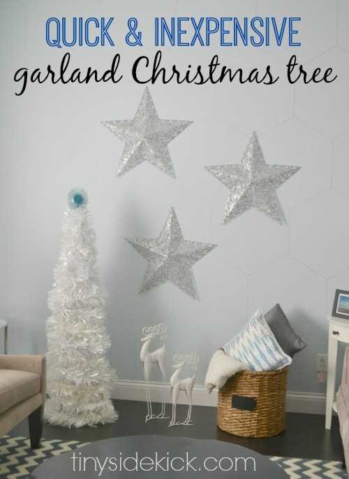 Easy tutorial to make this tall Garland Tree to add to your modern Christmas decor for about 15 dollars. #Christmasdecor #diy #garlandtree