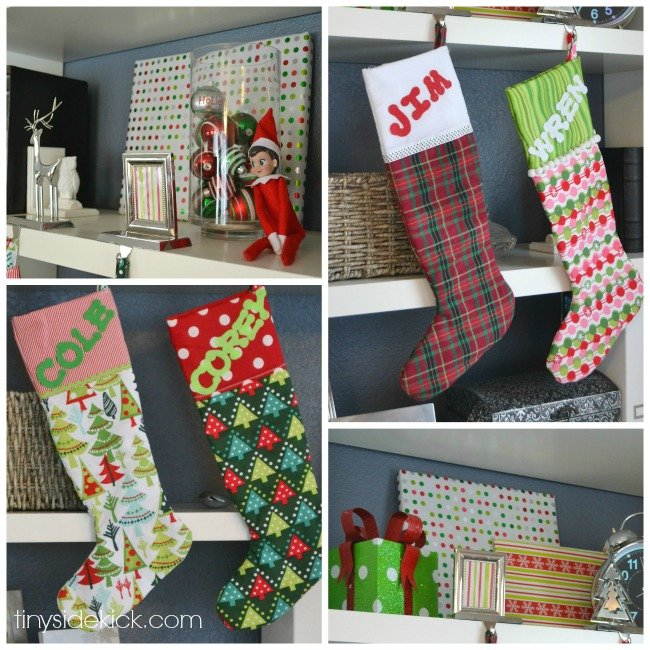 stockings hanging from shelves