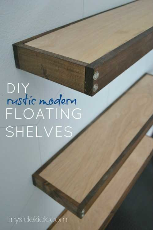 DIY rustic modern floating shelves