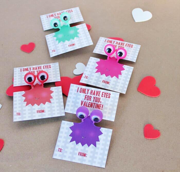Googly eye free printable kid valentines