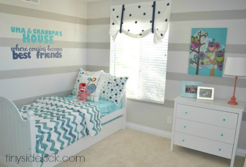 grey and turquoise kids room