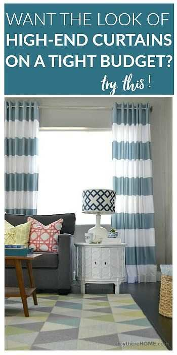 Easy to follow sewing tutorial - how to make grommet top curtains using fabric shower curtains.
