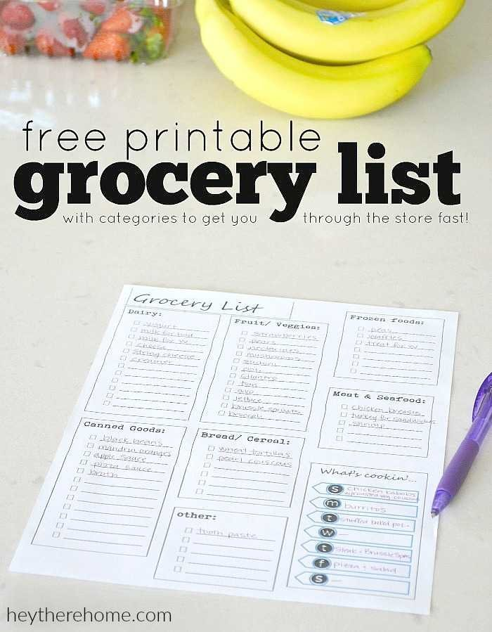 Free Printable Grocery List  Printable Grocery List Template Free