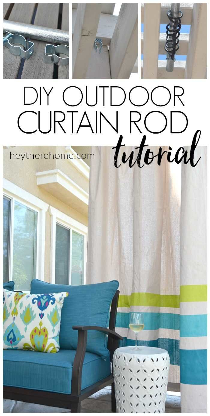 Awesome tutorial! How to make an outdoor curtain rod that will never rust and is really sturdy! #DIYoutdoordecor #patiodecor #outdoorcurtains #curtainrod via @heytherehome.com