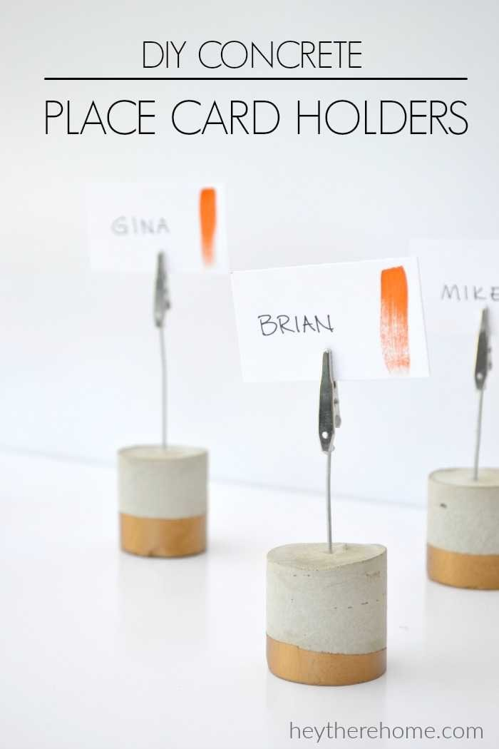 Make these easy DIY Painted Concrete Place Card Holders #falltablescape #placecard #partyideas #namecards #placecardholders #tablenumberholders