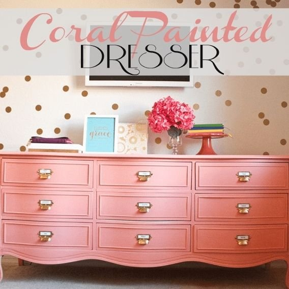 coral painted dresser