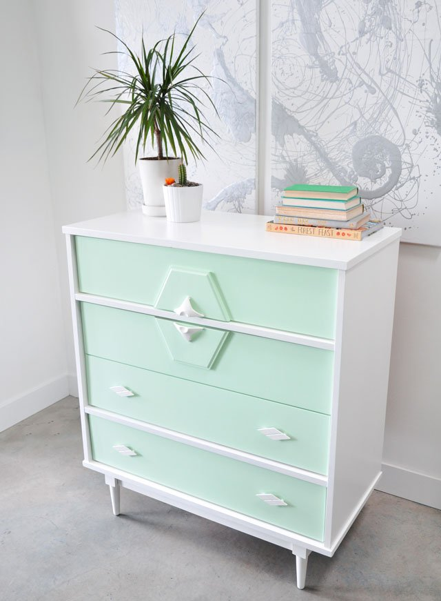 painted dresser mint and white