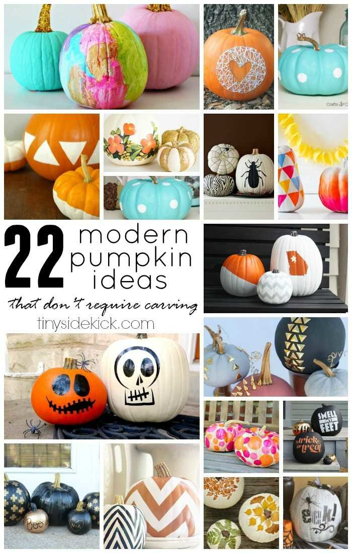 Carving is out and no carve pumpkin decorating is in! Here are 22 modern no carve pumpkin ideas to get you started! via @heytherehome.com #halloween #falldecor #Thanksgiving #nocarvepumpkins