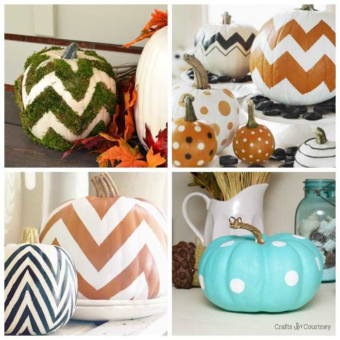 chevron and polka dot pumpkins