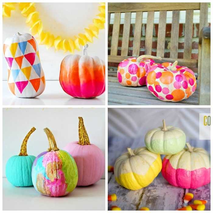 colorful no carve pumpkins