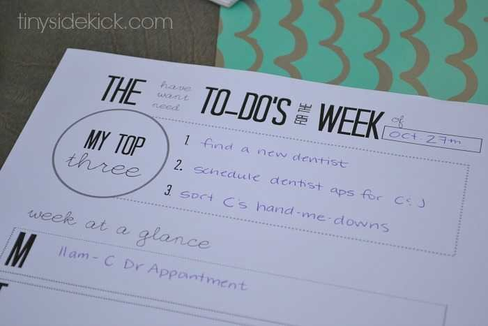 weekly to do list printable