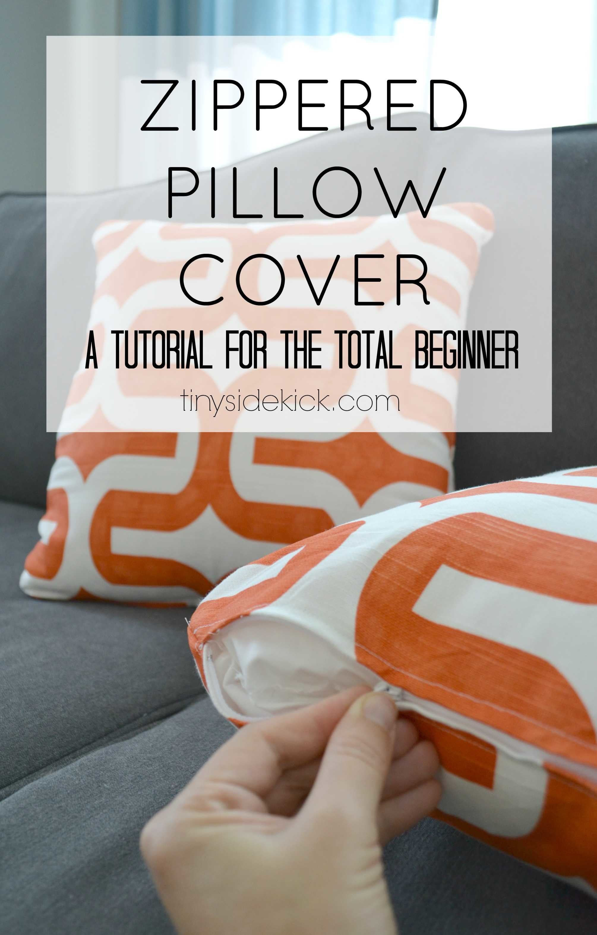 Book Cover Sewing Zip : How to make a zippered pillow cover tutorial for beginners