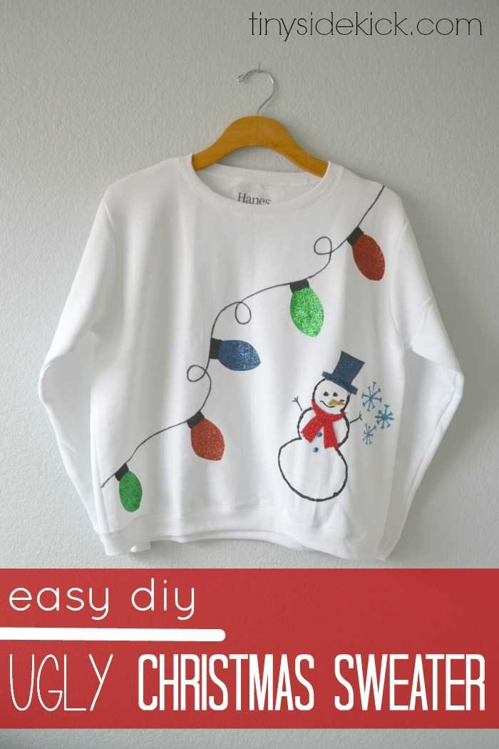 create your own ugly christmas sweater with this fun easy throwback to grade school fashion - Homemade Ugly Christmas Sweaters