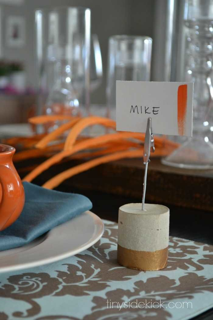 diy concrete place card holders
