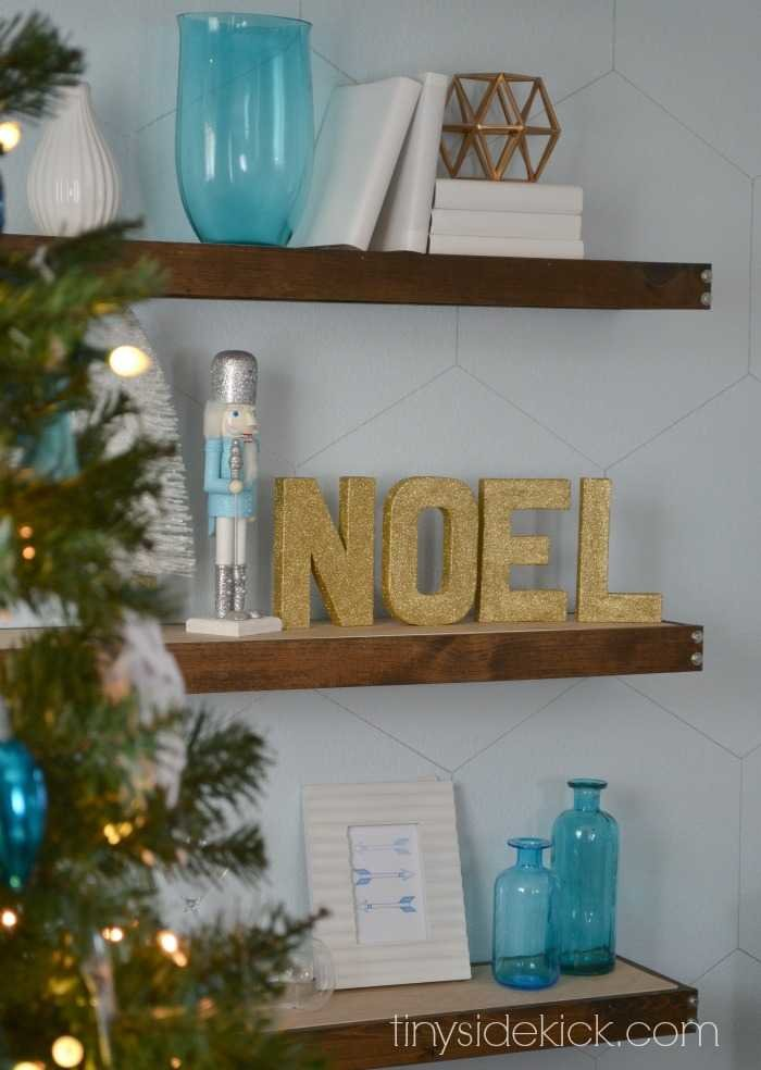winter wonderland Christmas decor- gold block glitter letters