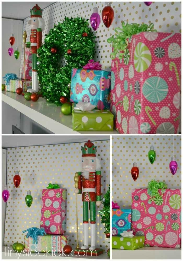 Fun and colorful Christmas mantle