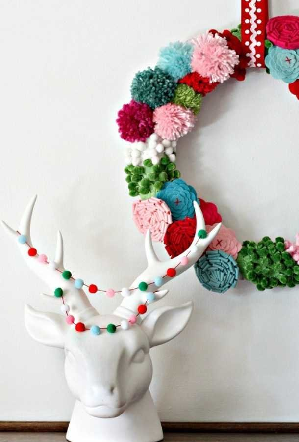 Pom Pom Wreath and Garland 12 modern Christmas decorating ideas