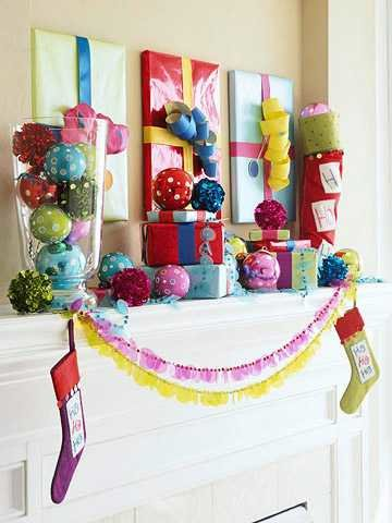 colorful Christmas mantle- better homes and gardens