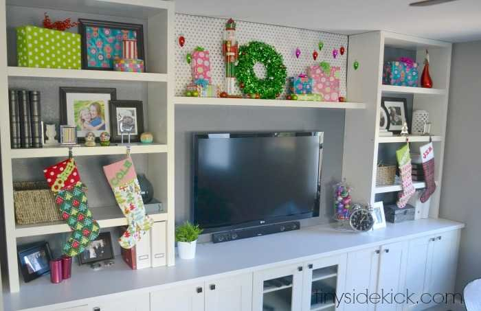 easy living room Christmas decor with wrapping paper