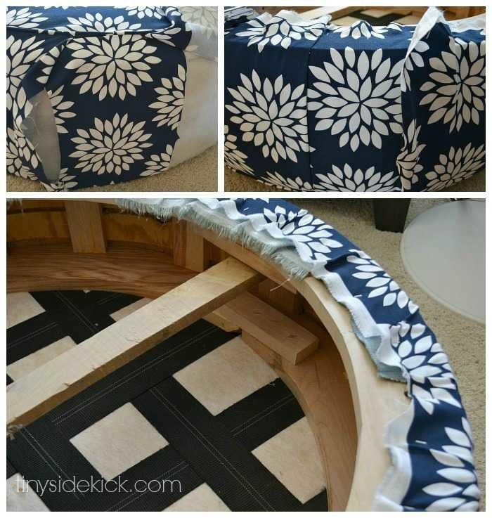 how to recover a leather ottoman with fabric 2