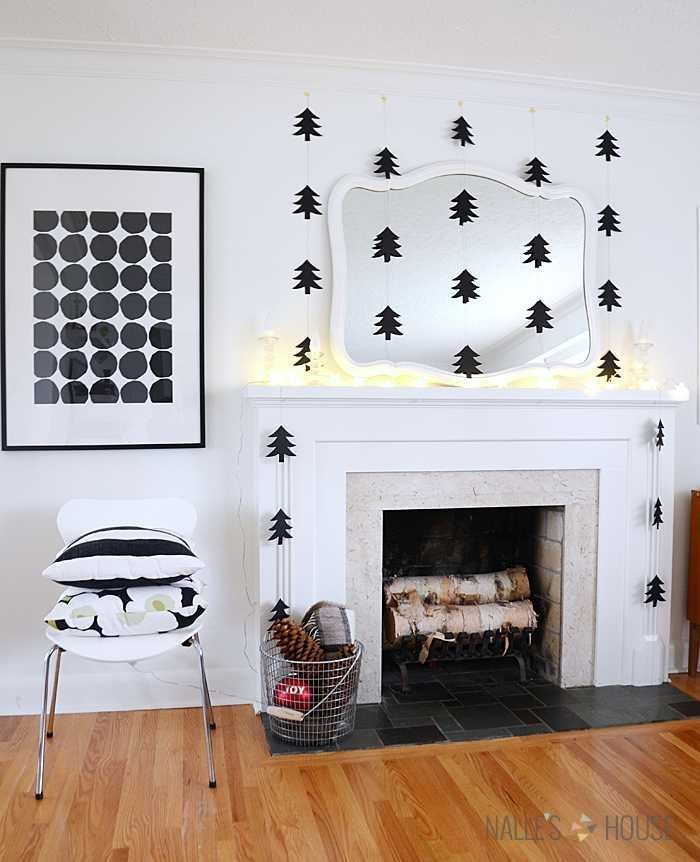 black paper Christmas tree garland - 12 modern Christmas decorating ideas