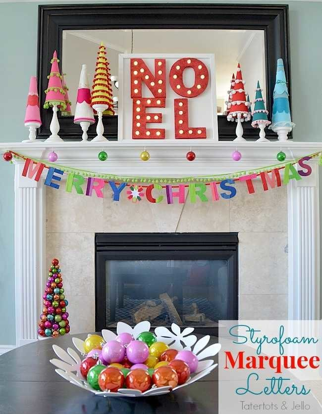 styrofoam-marquee-letters - 12 modern Christmas decorating ideas