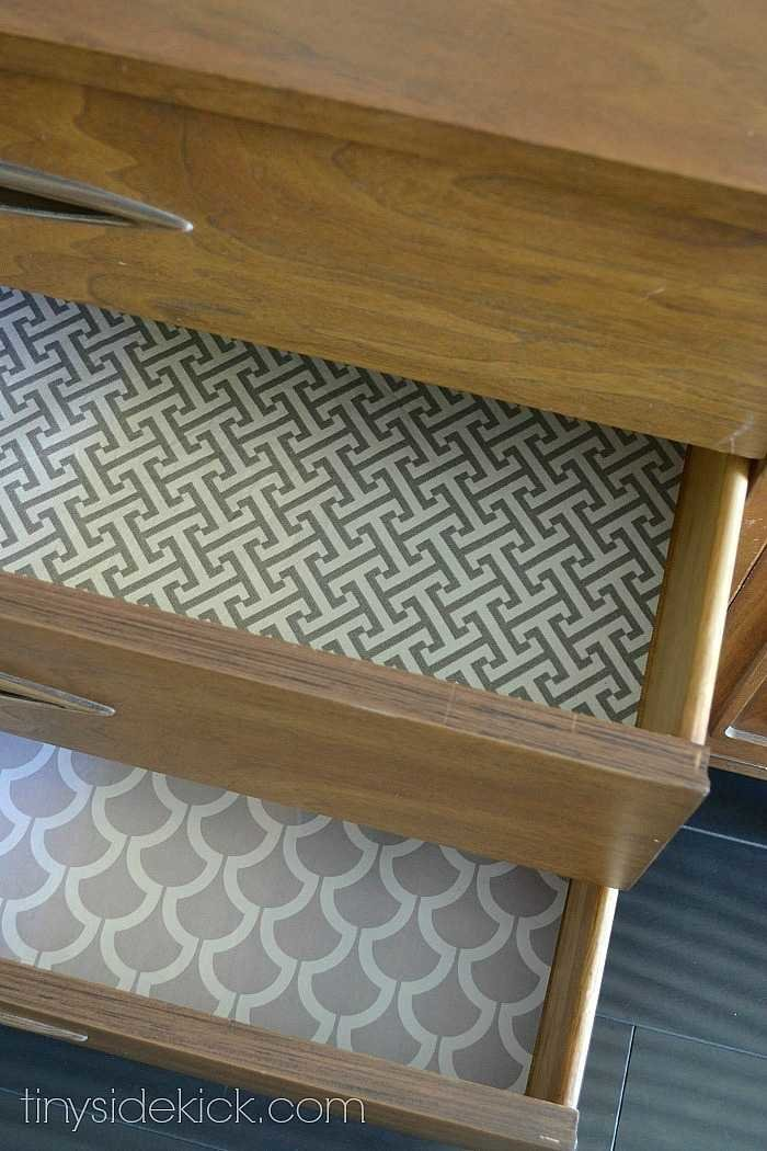 Easy way to line drawers with fabric!