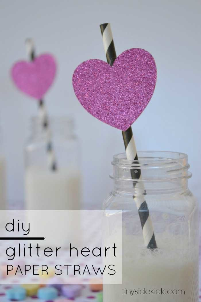 diy glitter heart paper straws for Valentine's Day