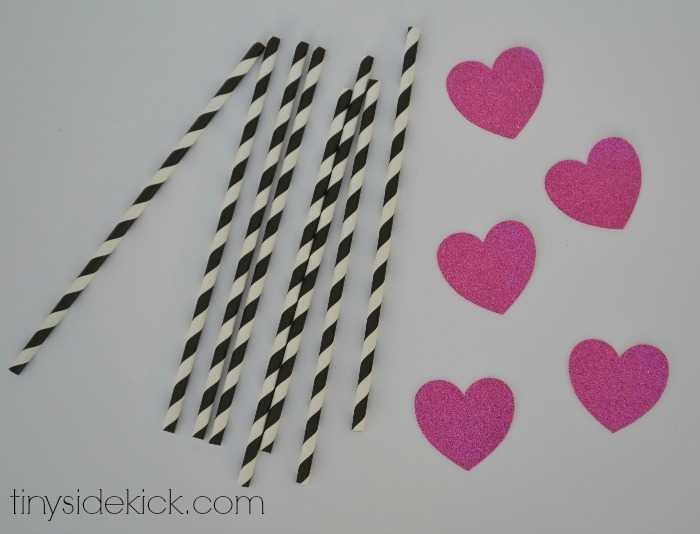 glitter heart straws for Valentine's Day