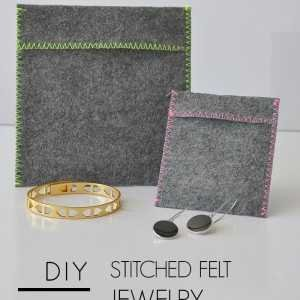 diy stitched felt jewelry pouches