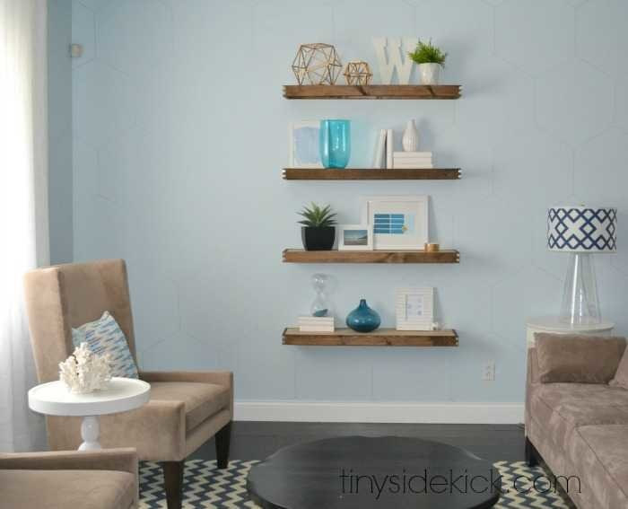 family room floating shelves