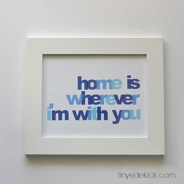 free gallery wall printable, home is wherever I'm with you printable, free wall art, free printable