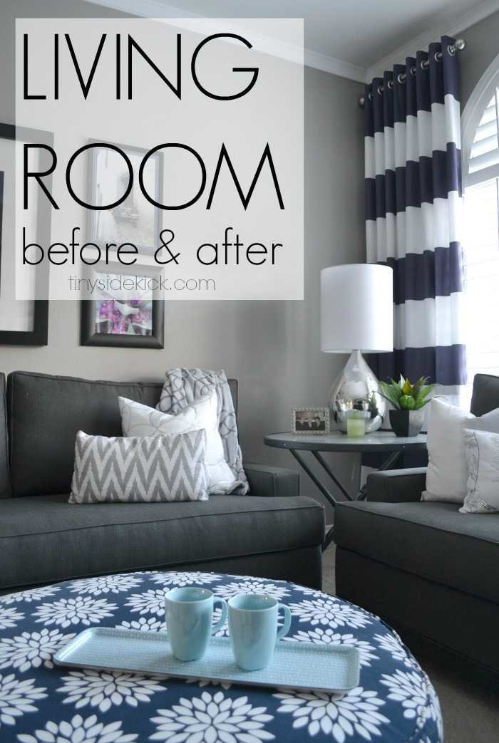 Bold and bright living room makeover before after for Room makeover
