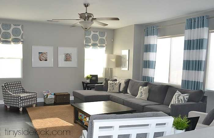Living Room With Greige Walls. My Paint Colors Greige With Shades Of Blue