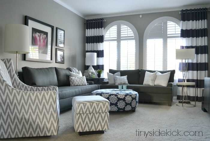 Bold and Bright Living Room Makeover before after