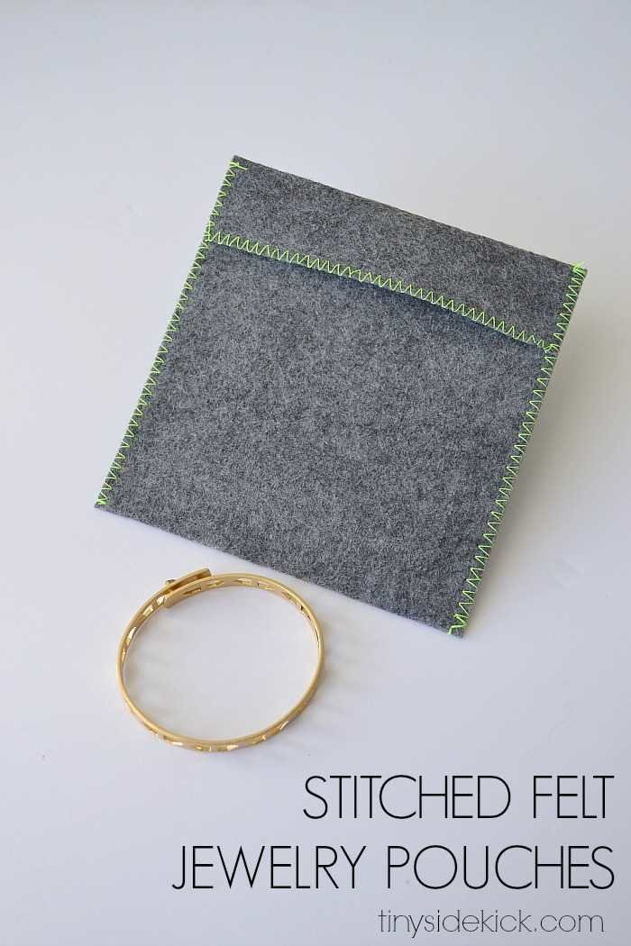 stitched felt jewelry pouches