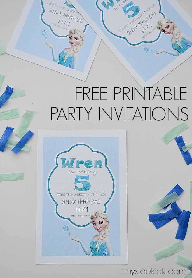 picture about Printable Party Invitations identified as Totally free Printable Frozen Birthday Social gathering Invites