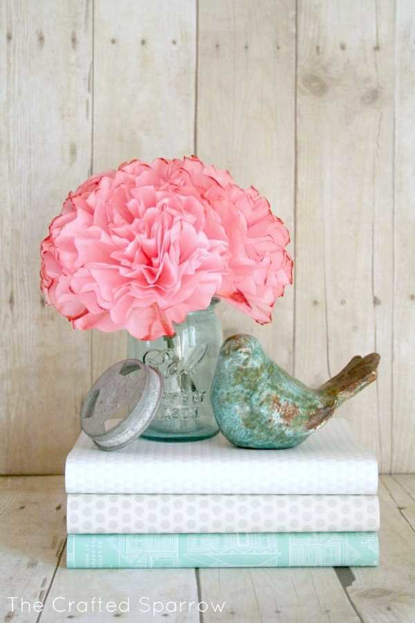 coffee filter flowers DIY spring decor