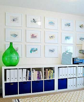 gallery wall grid with white frames