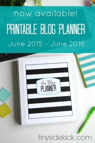 now available Printable blog planner june 2015- june 2016