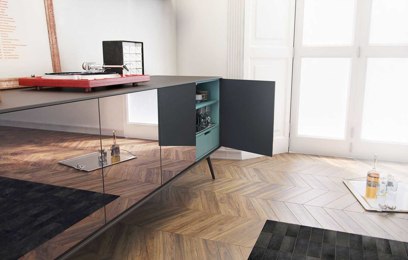 modern sideboard with aqua interior