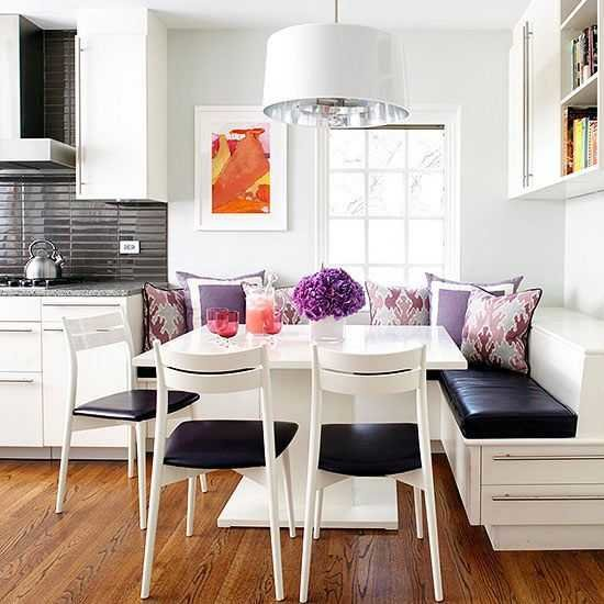 bhg eat in kitchen with purple accents - Kitchen Nook