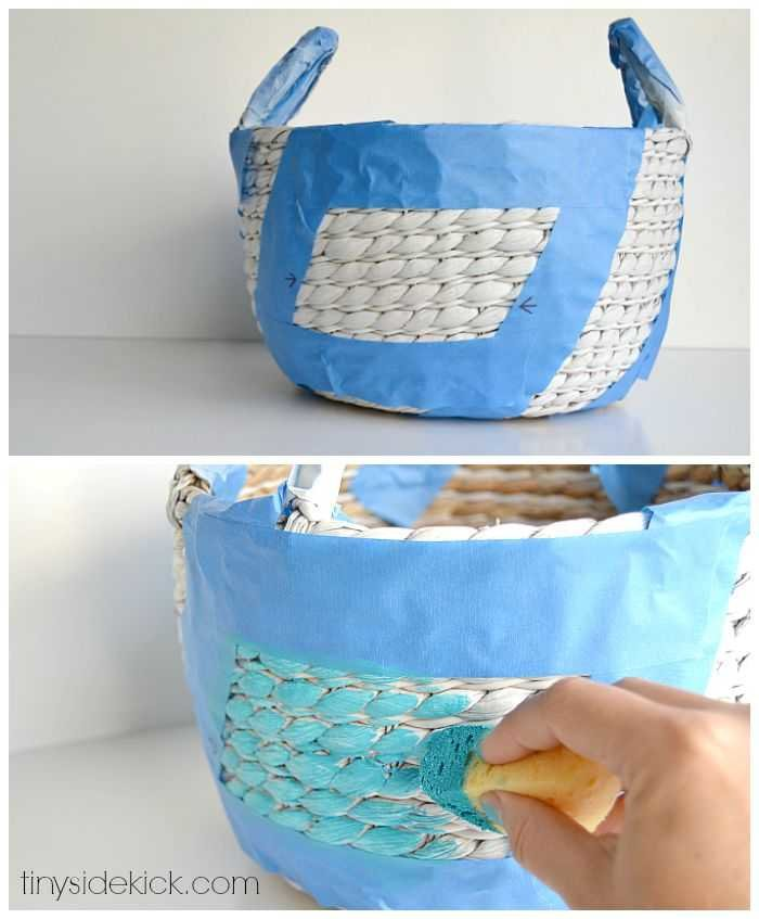 painted basket with graphic design